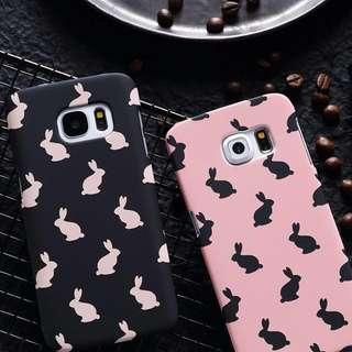 PO(162) Rabbit Pattern Pink Black Samsung OPPO iPhone Phone Case