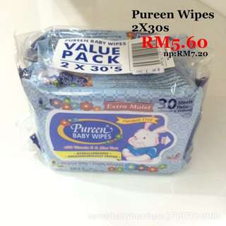 Pureen Wipes 2x30s