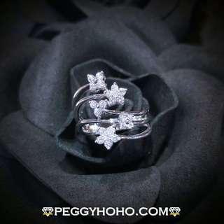 【Peggyhoho】 全新18K白色52份閃爆真鑽石戒指  小花系列   顯瘦戒指 靚石極閃