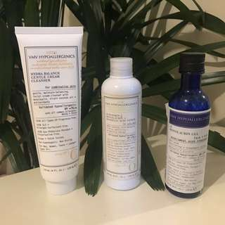 VMV Hypoallergenics Bundle of 3 • Cleanser + Toner + Anti-Acne Monolaurin Gel • Choose your French freebie!