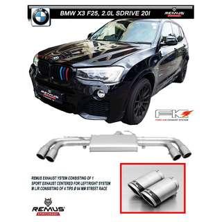 BMW X3 F25, 2.0l sDrive 20i - REMUS EXHAUST SYSTEM ( LTA COMPLIANT )