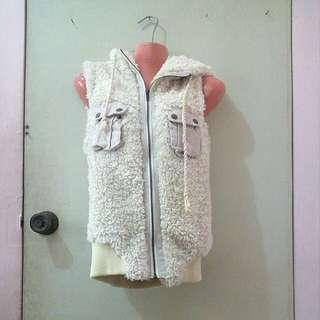 Preloved Fur/Wool Sleeveless Jacket
