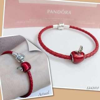 Pandora Bracelet (Red Leather Strap)