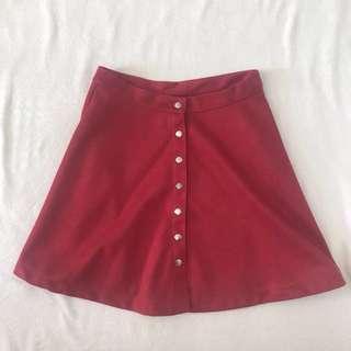 red button down skater skirt
