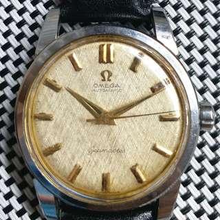 Omega Seamaster 亞米茄古董錶 ,原裝面無番寫,金字金針,代用皮帶, 501自動機芯,已抹油,行走精神 ,塑膠上蓋,直徑34mm不連霸的 ,淨錶$4800,有意請pm