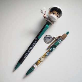 日本環球影城限定 進擊的巨人 兵長 原子筆 兩支Set