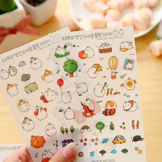 [BACK IN STOCK} Super Cute Korean Fat Bunny Stickers (6 sheets / pack)