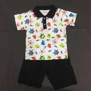 Boy Cute Collared Set Wear