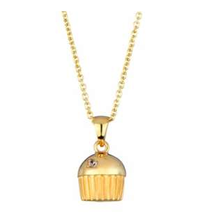 Single Stone Gold Plated Cupcake Necklace 3D design