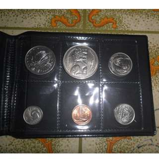 1970 Singapore circulated Coin Set ( 1 Cent to $1 Lion Coin)