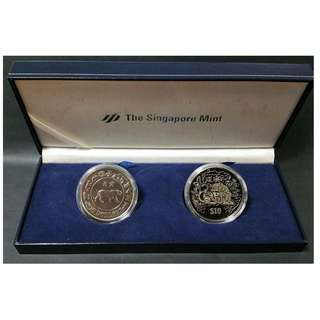 Singapore 1986 1998 $10 1st & 2nd series,  year of the Tiger