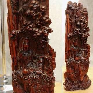 黃楊木觀自在菩薩木雕擺件