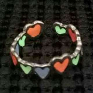 Multi Color Glow in the Dark Heart Adjustable Ring