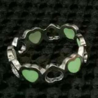 Green Glow in the Dark Heart Adjustable Ring