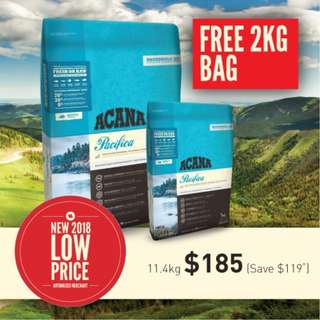 Acana Adult Dog Pacifica 11.4kg + Free Extra 2kg