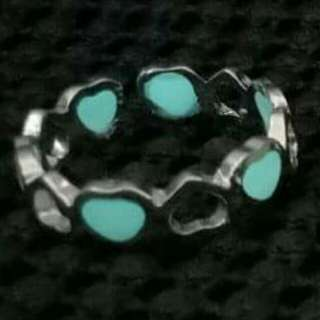 Blue-green Glow in the Dark Heart Adjustable Ring