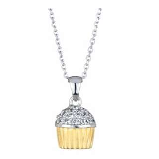 SALE ! Two Tone Silver and Gold Cupcake Chain Necklace