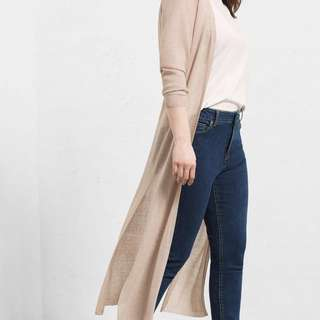 Mango Long Grey Cardigan with Side Slits
