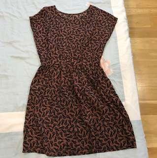 Cat print Brown Dress