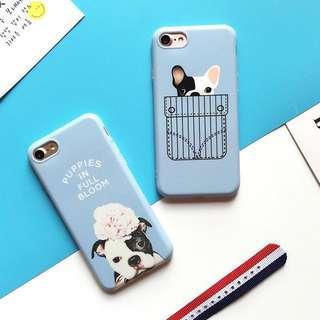 PO(226) Blue Pocket Bulldog Dog Cute Puppies in Full Bloom iPhone Phone Case