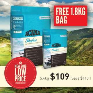 Acana Cat and Kitten Pacifica 5.4kg + Free Extra 1.8kg