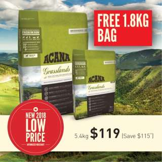 Acana Cat and Kitten Grassland 5.4kg + Free Extra 1.8kg