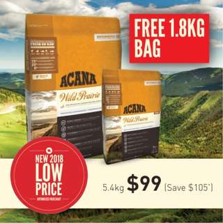 Acana Cat and Kitten Wild Prairie 5.4kg + Free Extra 1.8kg