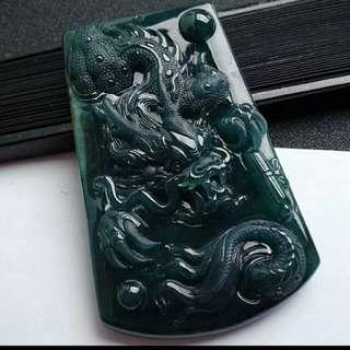🎇Big!!! Grade A 冰糯 Prosperity Dragon Jadeite Jade Pendant/Display🎍🍍