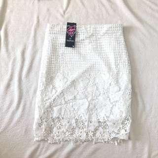 BOOHOO white embroidered midi skirt