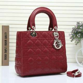 Lady Dior Medium Lambskin Maroon