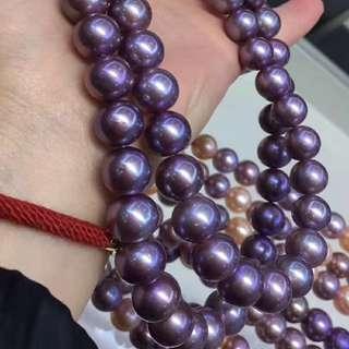 天然紫羅蘭色愛迪生珍珠項鍊~ 美呆😍~11-14mm
