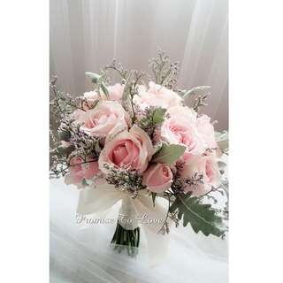 Rustic pink romance fresh roses & mixed flowers bridal bouquet (Wedding / ROM/ /Engagement Bridesmaid / Proposal/ Anniversary)
