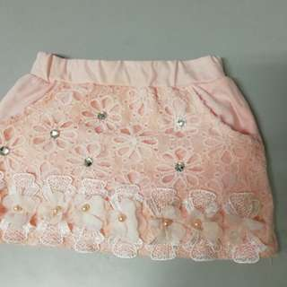 Pink flower glittering lace skirt