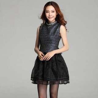 Black lace skirt dress