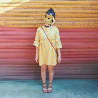 🚚 黃色 點點 洋裝 蓬蓬秀 可愛