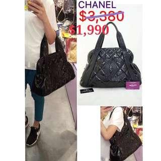 70% New CHANEL A46440 黑色 樹脂皮 CC Logo 手提袋 肩背袋 手袋 Black Vinyl Handbag