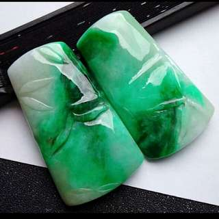 🎍Grade A 冰糯 Green Floral Bamboos Jadeite Jade Pendant🍍