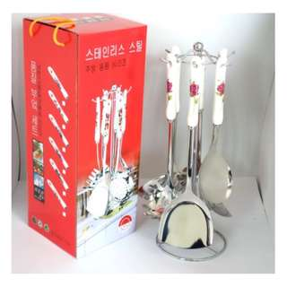 KM Ceramic Stainless Steel Kitchen Utensil (Silver)