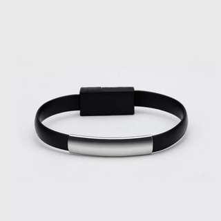創意手環式蘋果7plus數據線安卓华為小米VIVO高速6S充電短(6色可選:黑,白,灰,粉,綠,藍)