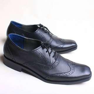 Sepatu Pantofel Pria Formal Kulit Asli Flavio Spezi Hitam