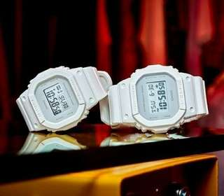 White square couple watch