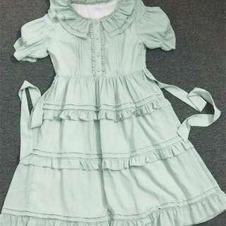 日系 綠色 連身裙 lolita