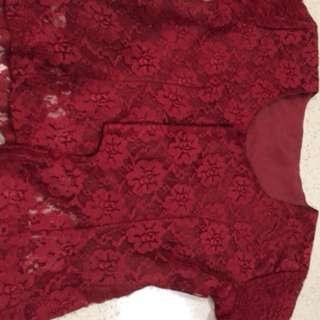 Red lace blouse