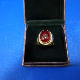Stone Ring 9k with Ruby Lite Gemstone 8.8g for sharing only