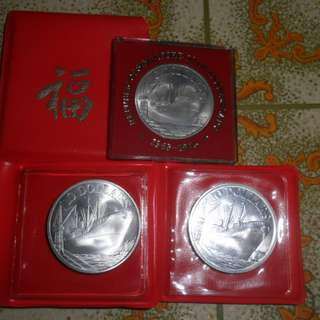 1975, 1976 & 1977 Singapore Ship UNC $10 Silver coin set.
