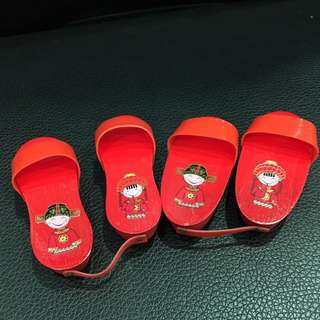 Red wedding baby clogs