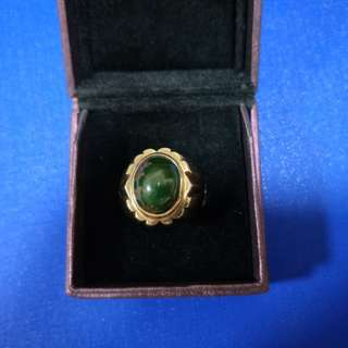 9k gold ring with green turquoise gem 10.3g for sharing only