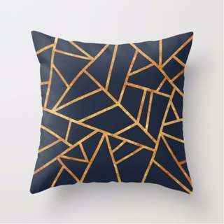 Navy and Gold Geometric Lines Throw Pillow Cushion Cover