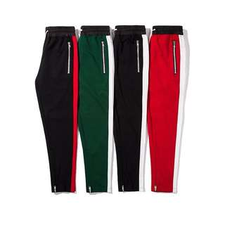 Side strap ankle zipper track pants UNISEX S-2XL