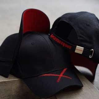 Topi Baseball black X line Red